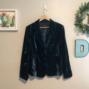 Lane Bryant Dark Green Crushed Velvet Blazer Coat